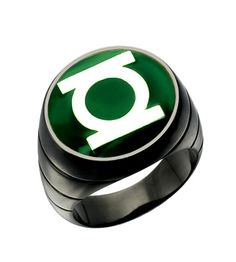 Wow this ring I love a lot. Black plated ring with nice green enamel. It's a gorgeous Green Lantern Ring. Check out superherorings.com for more details.