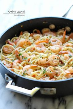 shrimp scampi pasta- 15 minute quick recipe.