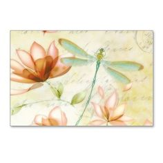 Pink flowers and dragonfl Postcards (Package of 8) on CafePress.com
