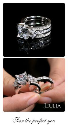 Unique princess cut sterling silver interchangeable ring set in 2019 Engagement Rings Sale, Princess Cut Engagement Rings, Wedding Rings Sets His And Hers, Modern Jewelry, Unique Jewelry, Beautiful Wedding Rings, Bridal Rings, Ring Designs, Rings