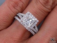 This is our alluring ctw Princess Cut Diamond Engagement Ring and Matching Wedding Band Set. It has a glittering ct Princess Cut H clarity, Clarity Enhanced (Fracture Filled) Center Diamond. Set in a gorgeous custom designed setting an Princess Wedding Rings, Tiffany Wedding Rings, Wedding Rings Solitaire, Princess Cut Rings, Princess Cut Engagement Rings, Wedding Band Sets, Wedding Rings Vintage, Engagement Ring Cuts, Bridal Rings
