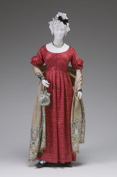 Ball Gown  circa 1825-1830    Place object was created: England, Great Britain, Europe	    Silk satin, linen, cotton batting
