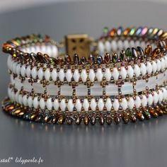 Bracelet manchette en perles tchèques à deux trous et rocailles japonaises