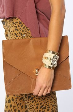 *Accessories Boutique The Oversized Envelope with Skull Detail in Camel : MissKL.com - Cutting Edge Women's Fashion, Accessories and Shoes.