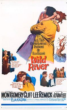 Wild River Montgomery Clift stars as a government agent who must evacuate a small town to make way for a new dam. When an elderly matriarch refuses to leave, Chuck Glover (Clift) falls in love Montgomery Clift, 1960s Movies, Vintage Movies, Hd Movies, Martin Scorsese, Stanley Kubrick, Movie Poster Art, Film Posters, Alfred Hitchcock