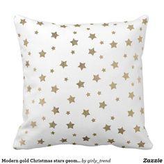 Modern gold Christmas stars geometric pattern Throw Pillow