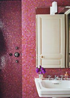 Pink bathroom, love the mosaic tile!