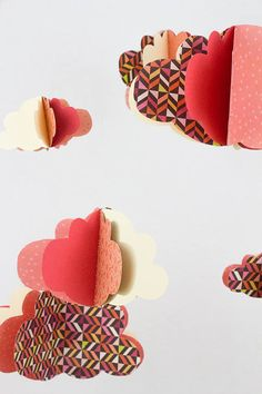 Mobile nuages papier guirlande nuages assortie rose