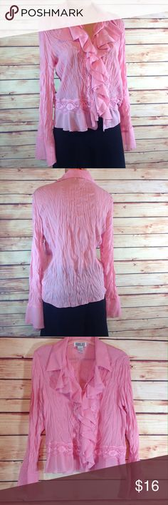 """Robbie Bee Pink Lace & Ruffles Top Large EUC Like new!  Gorgeous pink lace and ruffles button front top by Robbie Bee. Long sleeved, flared cuffs. Large. Bust 21""""across flat. Length 23"""".  ✅Please ask all your questions before you purchase! ✅Bundle for your best prices! ❎Sorry, no trades or holds Robbie Bee Tops Button Down Shirts"""
