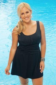 Women's Plus Size Swimwear - Always For Me In Control Orbit Swimdress Style #CO8126-12X - Sizes 16W-26W - JUST ARRIVED