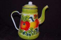 Vintage Enamelware Coffee Pot by ThirdTimesCharming on Etsy, $38.00