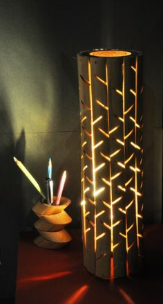 Bamboo Corner Lamp and Pen Holder by Lakshmi Shewale at Coroflot.com