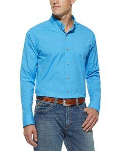 Ariat Solid Poplin Scuba Blue Shirt - Big & Tall