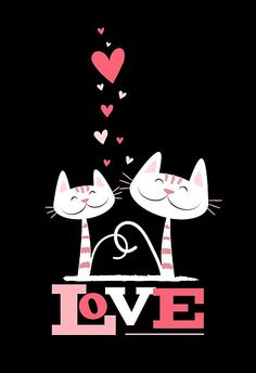 Cats in Love Cute Kitty Valentine (black inside) Greeting Cards Artwork designed by LisaMarieDesign. Made by Zazzle Greeting Cards in San Jose, CA Crazy Cat Lady, Crazy Cats, Chat Rose, Image Chat, Photo Chat, All About Cats, Cat Quotes, Pink Cat, Cat Drawing