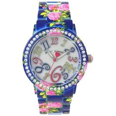 Betsey Johnson Floral Enameled Watch ($75) ❤ liked on Polyvore featuring jewelry, watches, floral, polish jewelry, floral watches, betsey johnson jewelry, quartz movement watches and leather-strap watches