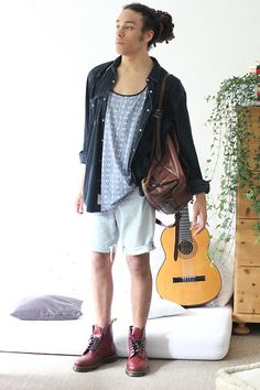Philip Antony - H&M Shirt, Levi's® Shorts, Dr. Martens Shoes, Backpack - Well I met you at the blood bank