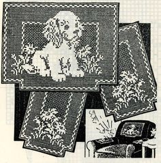 For you a PDF file of my original Vintage Crochet Pattern. Design 2538 Chair set in filet crochet ( Puppy & Daisys ) This finished size of the chair back is about 15x11 inch and the chair arms are about 11x7 inch This pattern contains written directions and a graph of the designs The