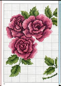 This Pin was discovered by Zey Cross Stitch Borders, Cross Stitch Rose, Cross Stitch Flowers, Cross Stitch Charts, Cross Stitch Designs, Cross Stitching, Cross Stitch Embroidery, Embroidery Patterns, Hand Embroidery