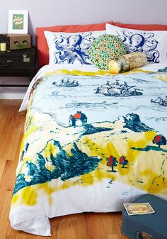 Coastal Cliffs Duvet Cover in Full/Queen - Multi, Nautical, Travel, Best, Novelty Print, Exclusives