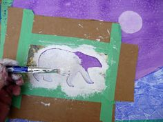 that artist woman: Polar Bears Revisited - watercolours, tissue paper, cling film, gesso = these polarbear paintings Animal Art Projects, Winter Art Projects, Projects For Kids, Animal Crafts, Kids Crafts, Summer Camp Art, 2nd Grade Art, Polar Animals, Cute Coloring Pages