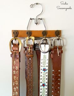 DIY belt organizer using a vintage pants or trouser hanger and robe hooks by Sadie Seasongoods / www.sadieseasongoods.com