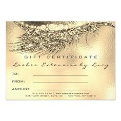 Lashes Beauty Makeup Certificate Gift Gold Metalic Card Custom #babyshower invitations - Make your special day with these personalized #baby #shower #invitations change the colors font and images and make them your own.