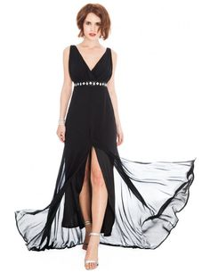 V Neck Front Split Maxi Dress - Black