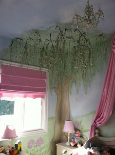 enchanted tree wall mural | Wall Murals by Colette: Hand-Painted Tree Wall Art - Tree Wall Murals. I want to do 2 trees in their room!