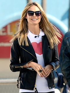 Heidi Klum's heart is in the right place while filming Germany's Next Top Model at a Venice, Calif., skate park Friday, January 31, 2013.