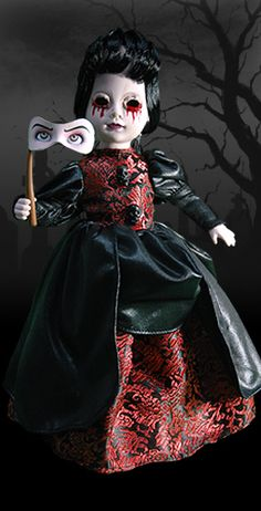 Love the eye mask - I have this little doll. She comes with a noose so you can hang her somewhere. Ooak Dolls, Blythe Dolls, Creepy Baby Dolls, Halloween Doll, Halloween Series, Spooky Halloween, Halloween Decorations, Haunted Dolls, Haunted Houses