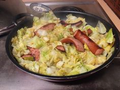 One pan, low carb meal: Kielbasa and Cabbage.