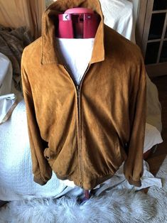 Men's Golden Bear Sportswear Cognac Brown Leather Bomber Jacket Size Large Sexy!  | eBay