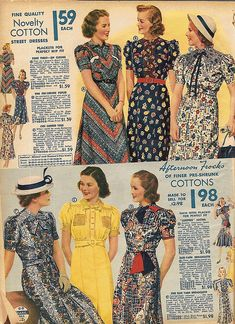 Wonderful warm weather cotton dresses, 1938. #vintage #1930s #fashion