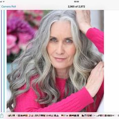 """I'm glad to see a gray haired woman wearing COLOR. The conventional """"wisdom""""… Long Silver Hair, Long Gray Hair, Silver Haired Beauties, Grey Hair Inspiration, Drop Dead Gorgeous, Beautiful, Grey Hair Don't Care, Curly Hair Styles, Natural Hair Styles"""