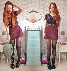 Amelia  Breading - Topshop Chunky Boots, Topshop Backpack, Vintage Market Suede Skirt, Primark Burnout Velvet Top - IF THE SKY BURNS