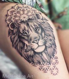 Lion mandala thigh piece on Behance Oak Tattoo, Tattoo Femeninos, Tattoo Style, Tattoo Drawings, Tattoo Expo, Lion Head Tattoos, Leg Tattoos, Body Art Tattoos, Sleeve Tattoos