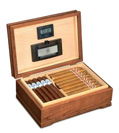 This Jefferson cigar humidor is made of solid American cherry hardwood with an English walnut finish and Spanish cedar linings. This humidor holds up to 90 cigars with a moveable cigar divider for eas Best Humidor, Cigar Humidor, Cigar Boxes, Good Cigars, Cigars And Whiskey, Cigar Accessories, Smoking Accessories, Electric Wine Opener, Premium Cigars