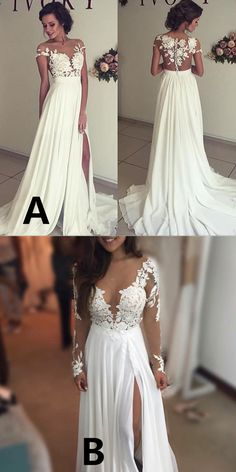 Sexy Wedding Dresses,A-Line Wedding Dresses,Split Side Wedding Dresses,Sheer Neck Wedding Dresses,Long Wedding Dresses, Bridal Gown with Lace,2017 Wedding Dresses
