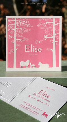 letterpers_letterpress_geboortekaartje_Elise_schaapjes_roze_bomen_stoer_schapen