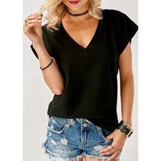 Black Cap Sleeve V Neck T Shirt (€22) ❤ liked on Polyvore featuring tops, t-shirts, black, short sleeve v neck t shirt, short sleeve v-neck tee, cap sleeve tee, short sleeve tee and v neck tee