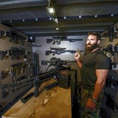 Dan Bilzerian Instagram, Secret Rooms In Houses, Gun Closet, Navy Seal Training, Tactical Wall, Tactical Gear, Gun Aesthetic, Moving To Las Vegas, Gun Rooms
