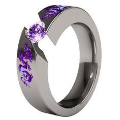 "Titanium Wedding Rings Custom Samsara with anodized ""Liung"" Dragon carvings Custom Wedding Rings, Wedding Bands, Dragon Jewelry, Purple Jewelry, Bling, Titanium Rings, Love Ring, Ring Verlobung, Schmuck Design"