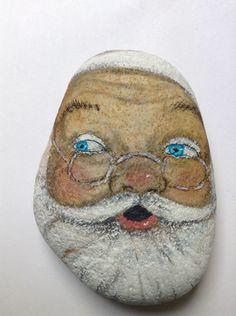 Original+paintingr+art+Rock+stone+Santa+Claus+Christmas