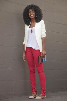 High rise red pants with slouchy tee, blazer, and peach colored flats