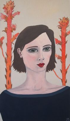 New Blood Art | Portrait with Red Plants by Kitty Cooper | Buy Original Art Online | Artworks by Emerging Artists for Sale