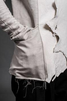 minoar:  Minoar SS15 Unsullied | BETH raw edge leather/linen jacket | silver oxidized black buttons | artisanal piece