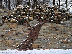 Stone tree 🌳 by Mannato Garden Design Plans, Yard Design, Dry Stone, Walled Garden, Tree Wall, Stone Art, Yard Art, Garden Projects, Amazing Gardens
