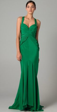 Zac Posen is a favorite of mine for special occassions.  The cuts look individually tailored and the silhouette is always so feminine and spot on.  In a spring green, this one is perfect for a formal wedding or event.  #amyesperstyling