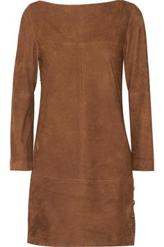 Chocolate suede Concealed zip fastening along side 100% suede (Lamb); trim: 100% wood Specialist clean