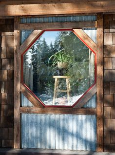 mirror idea - traditional exterior by Mindful Designs, Inc. Tin Siding, House Siding, Wood Siding, Rustic Exterior, Exterior Trim, Shack House, Reclaimed Building Materials, Corrugated Tin, Traditional Exterior